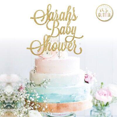 custom baby shower cake topper name personalised customised gold glitter gender