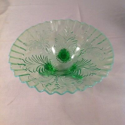 Dugan Glass Green Opalescent Ruffled Edge Footed Dish - Palm and Scroll Pattern