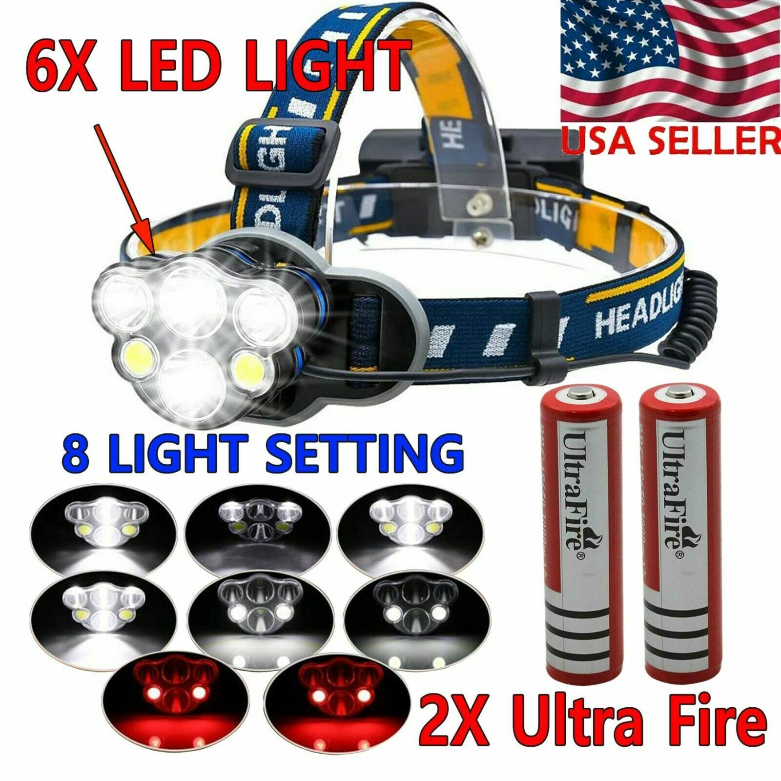 250000LM 5X T6 LED Rechargeable Headlamp Head Light Flashlight Torch Lamp USA Camping & Hiking