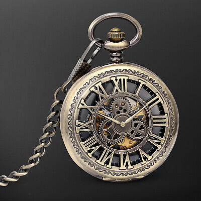 Mechanical Pocket Watch Black Dial Gear Pattern Roman Numeral Hollow Retro Dress Black Roman Numeral Pocket Watch