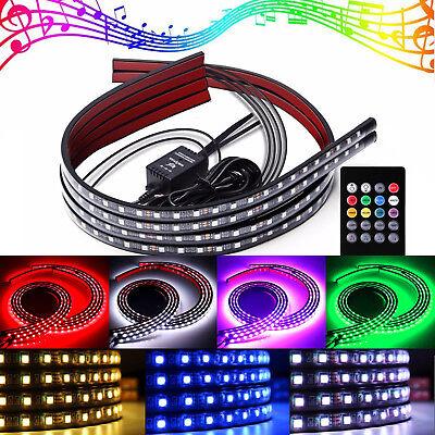 "4x Car LED Strip RGB 8 Color Underglow Kit Underbody Accent Light 36"" & 48"" S2"