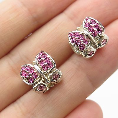 Authentic Chamilia Cham 925 Sterling Silver Pink Crystal Butterfly 2 Bead Charms