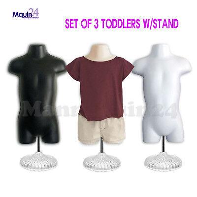 3 Pack Toddler Torso Dress Mannequin-lot Of Black Flesh White 3 Stands 3 Hooks