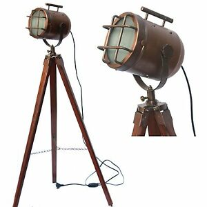 vintage ship spotlight model floor lamp wooden tripod signal light corner lamps ebay. Black Bedroom Furniture Sets. Home Design Ideas
