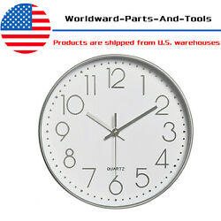 Wall Clock 12 Round Silent Non Ticking Quartz Battery Operated Home Decor