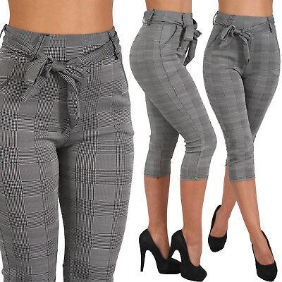 Capri Business Karo Stretch Hose Binde Gürtel breiter Bund Treggings Leggings ()
