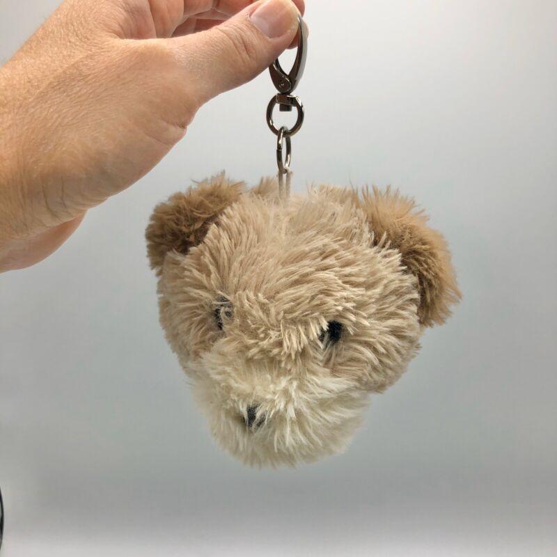 "Teddy Bear Head Plush Keychain 5"" Brown/Tan Backpack Clip"