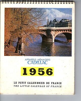 """CALENDRIER 1956 Appareils ménagers CADILLAC  """" le petit calendrier de France """""""