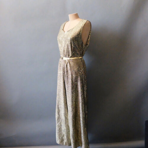 1970s Vintage Glittering Gold Wide Leg Palazzo DiscoJumpsuit Studio 54 M L 8 10