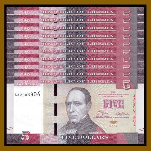 Liberia 5 Dollars x 10 Pcs, 2016 P-31 New Design Unc