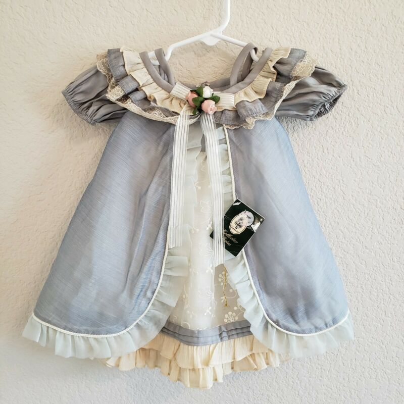 Geppedo Collectors Series Doll Clothes Newborn Photos Lace Rose Blue Ivory Dress
