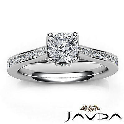 Cushion Cut Diamond Channel Set Engagement Ring GIA H SI1 18k White Gold 1.03Ct 3