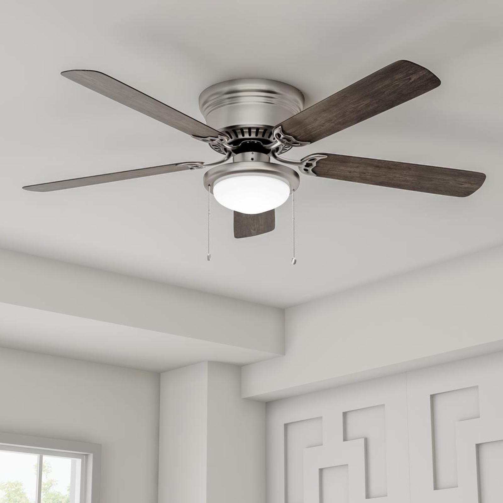 56 Large Low Profile Hugger Led Ceiling Fan Flush Mount Brushed Nickel Quiet 792145372677 Ebay