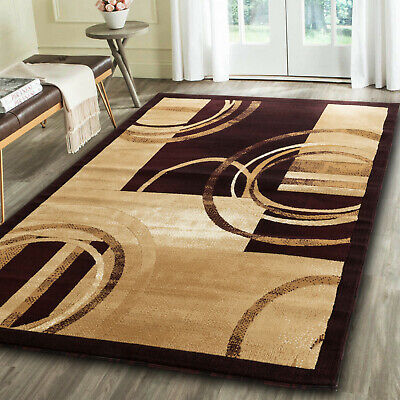 Modern black gold Area rug Newprt #50 soft pile size options 2x3 3x5 5x7 - Black Gold Carpet