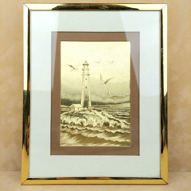 Manifestations Inc: Optical Illusionary Lighthouse Art Foil Print Gold