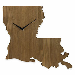 Louisiana State Shaped Wood Grain Wall Clock Collection