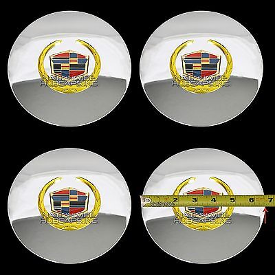 (4 Eldorado Deville DTS Chrome Gold Wheel Center Hub Caps 5 Lug Rim Cover Hubs RG)