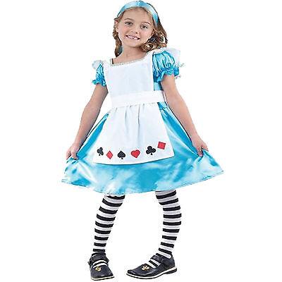 Alice aus Wunderland Gr.110-146 Mädchen Kostüm Film Märchen Kleid Stirnband (Alice Mädchen Kostüm)