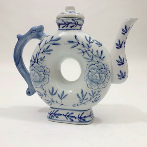 VGC Asian Blue & White Donut Shape Porcelain Teapot Floral with Dragon Handle