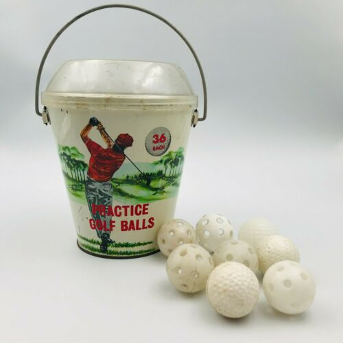 Vintage Practice Golf Balls Metal Bucket w/ Plastic Top Scarce Hong Kong