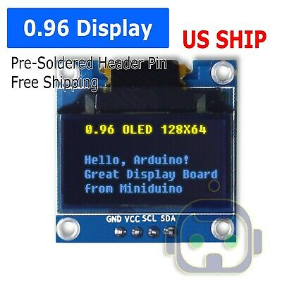 0.96 I2c Iic 128x64 Led Oled Lcd Display Arduino Yellow Blue Color Ssd1306 Us