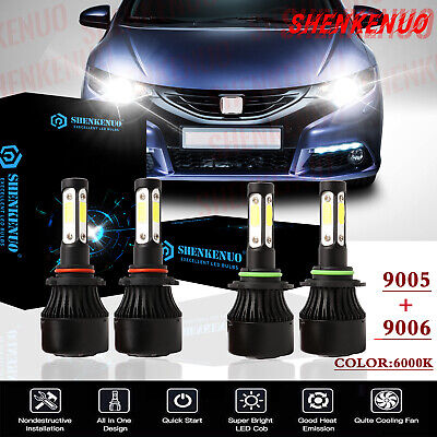 For Honda Civic 2006-2011 Sedan combo Replacement LED Headlights Bulbs Kit 6000K