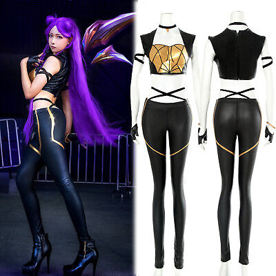 LOL League of Legends KDA Kaisa Leather Punk Uniform Cosplay Costume Full Suit - Black Leather Costumes