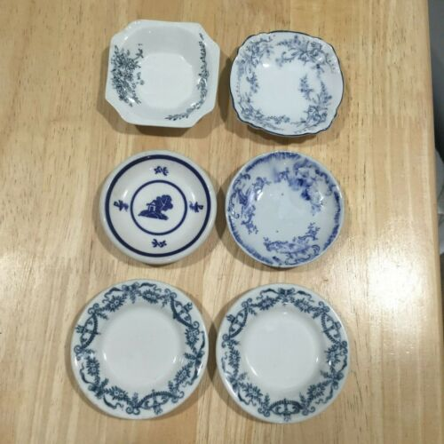 ANTIQUE BUTTER PATS LOT OF SIX (6)  PIECES MAKERS MARKS ARE IN DESCRIPTION