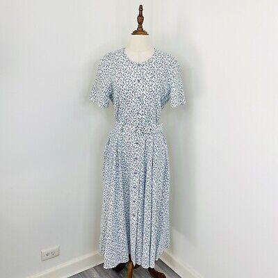 80s Dresses | Casual to Party Dresses Vintage Midi Ditzy Floral A-Line Dress White Cottagecore Button Front Size 14 $37.41 AT vintagedancer.com