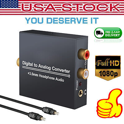 - Optical Coaxial Toslink Digital to Analog Audio Converter Adapter RCA L/R 3.5mm
