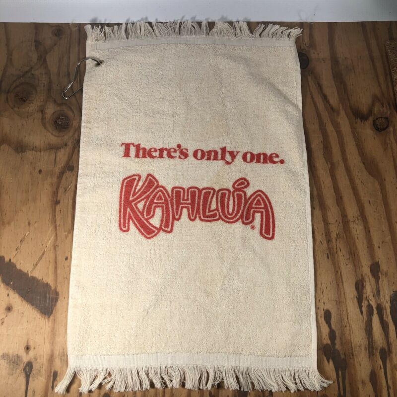 Vintage Kahlua Coffee Liqueur Hanging Hand Towel With Ring, Kahlúa, *RARE*