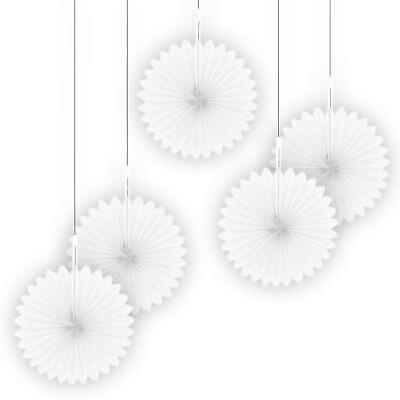 5 Schneewittchen Papier Ventilatoren Party Wandbehang Blumen Daisy - Schneewittchen Party Dekorationen