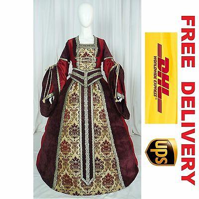 MEDIEVAL RENAISSANCE TUDOR WEDDING HANDFASTING LARP GOWN DRESS COSTUME (19A)