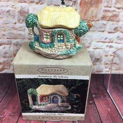 Hallmark Ornament Cozy Cottage Teapot 1995 Showcase Invitation to Tea Collection - Teapot Invitations