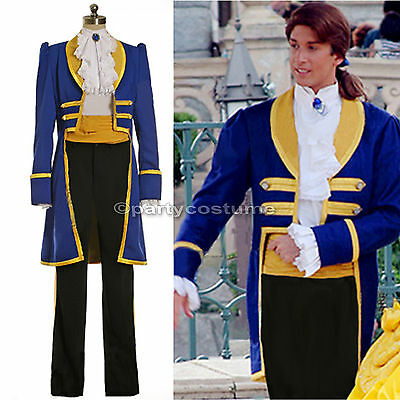 Mens Royal Prince Charming Beauty and The Beast Adult Cosplay Costume S-PLUS SZ (Beast Adult)
