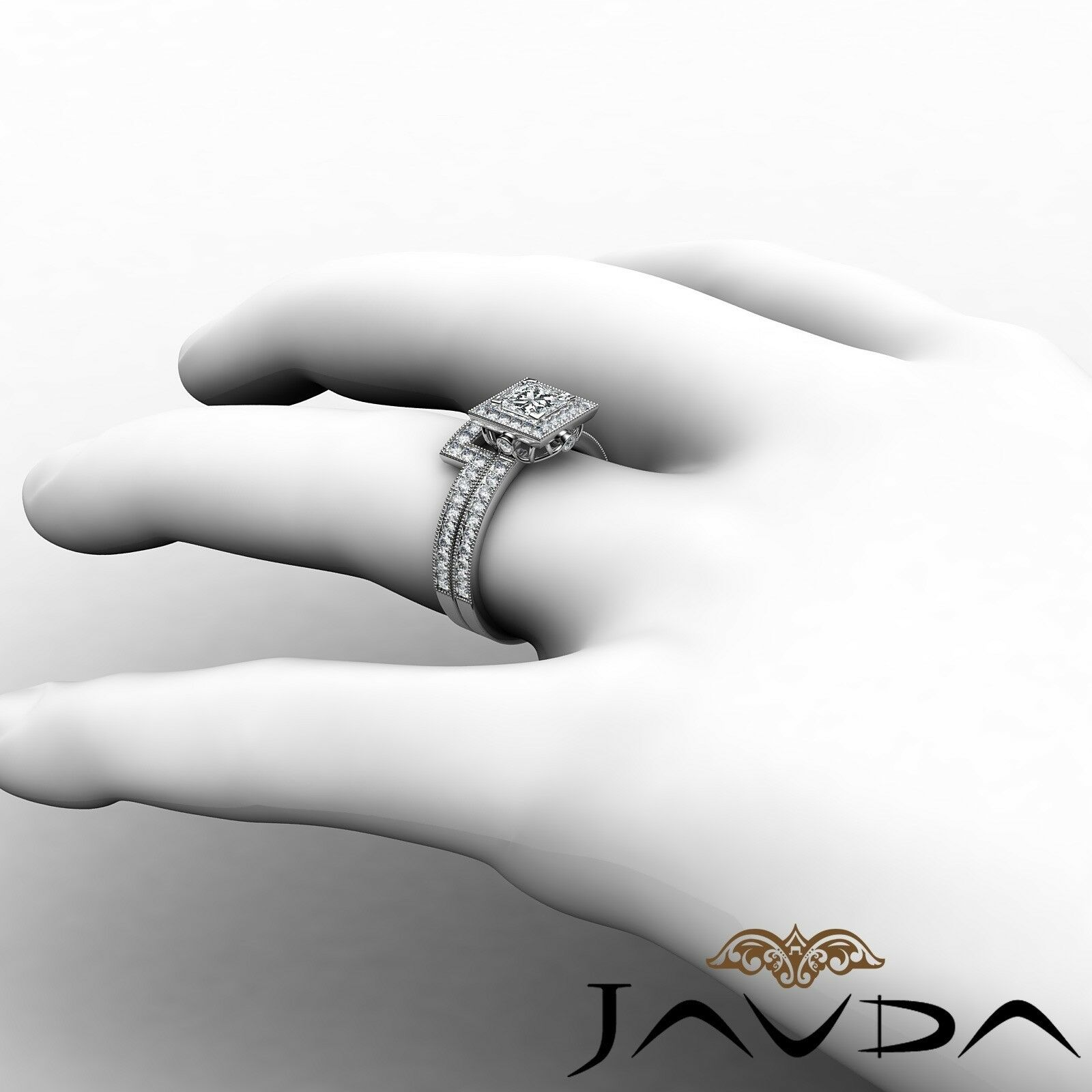 1.9ct Milgrain Edge Bridal Set Princess Diamond Engagement Ring GIA F-VS2 W Gold 5