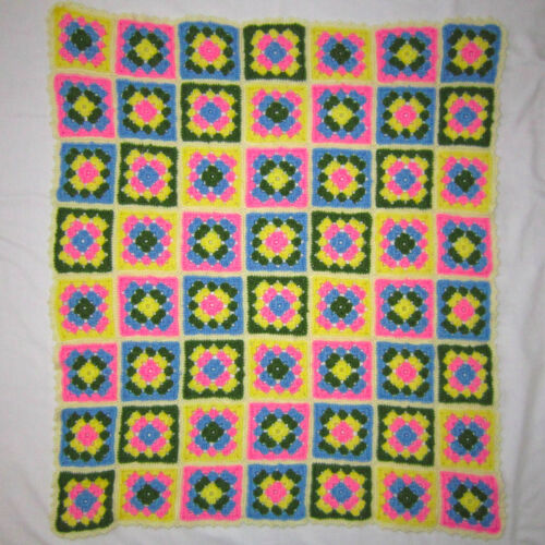 Granny Square 36x32 Lap Blanket Afghan Chair Throw Blue/Pink/Green/Yllow Crochet