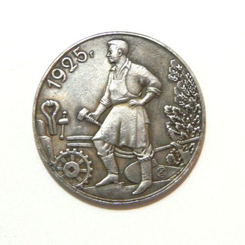 1 RUBLE 1925***SOVIET UNION***USSR***LENIN***STALIN***EXONUMIA SILVERED COIN
