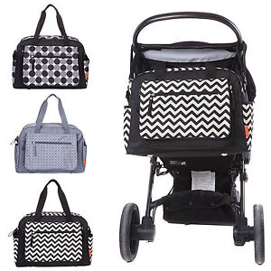 Designer-Luxury-Baby-Nappy-Changing-Bag-Set-Diaper-Bag-Black-Grey