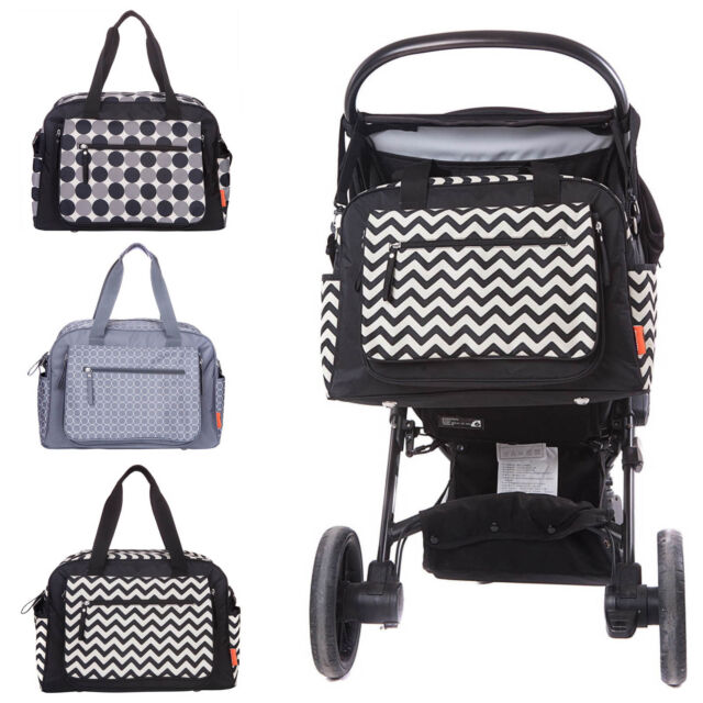 designer nappy bags 12ia  Designer Luxury Baby Nappy Changing Bag Set Diaper Bag-Black Grey