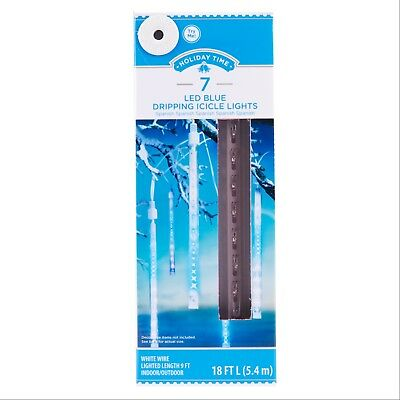 New ! Holiday Time 7 Count Led Blue Dripping Icicle Lights  White Wire