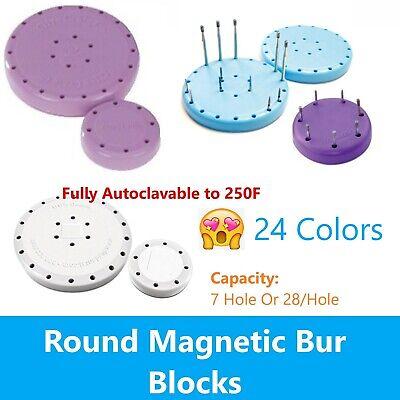 Magnetic Round Dental Lab Bur Block Holder For Fg Ra Fgos 7 Hole Or 28 Hole
