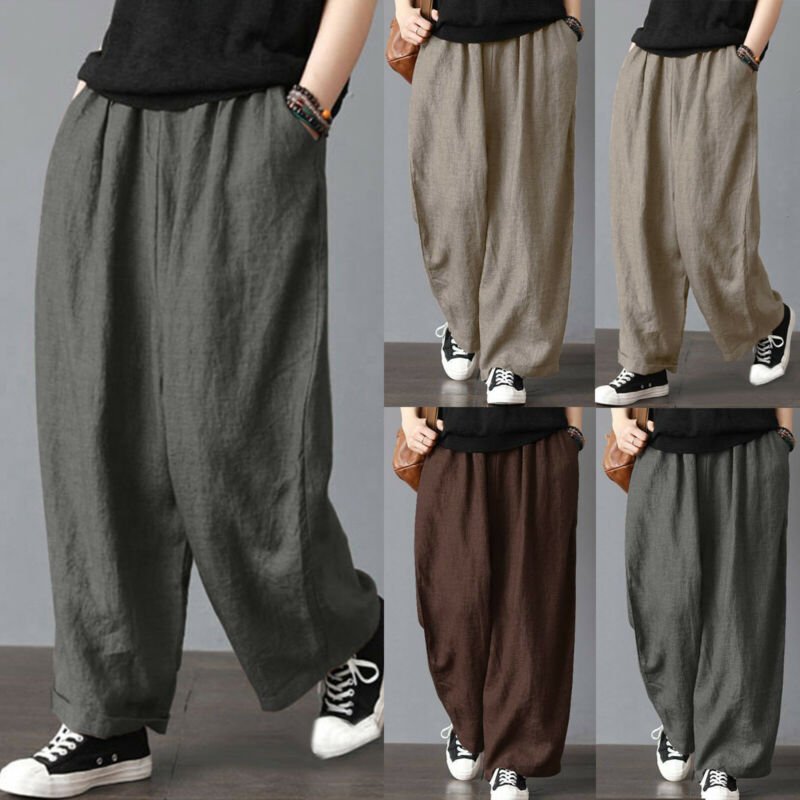 Plus Size Womens Cotton Linen Wide Leg Harem Pants Casual Lo