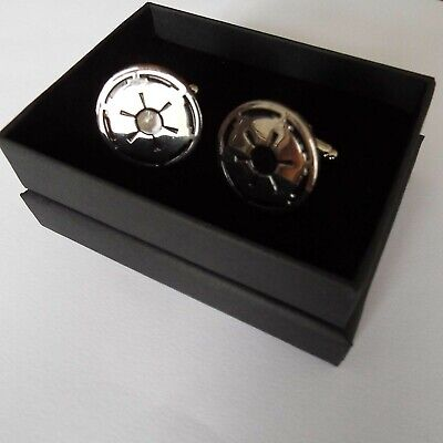 Pair of stylish Star Wars Galactic Empire Cufflinks in gift box