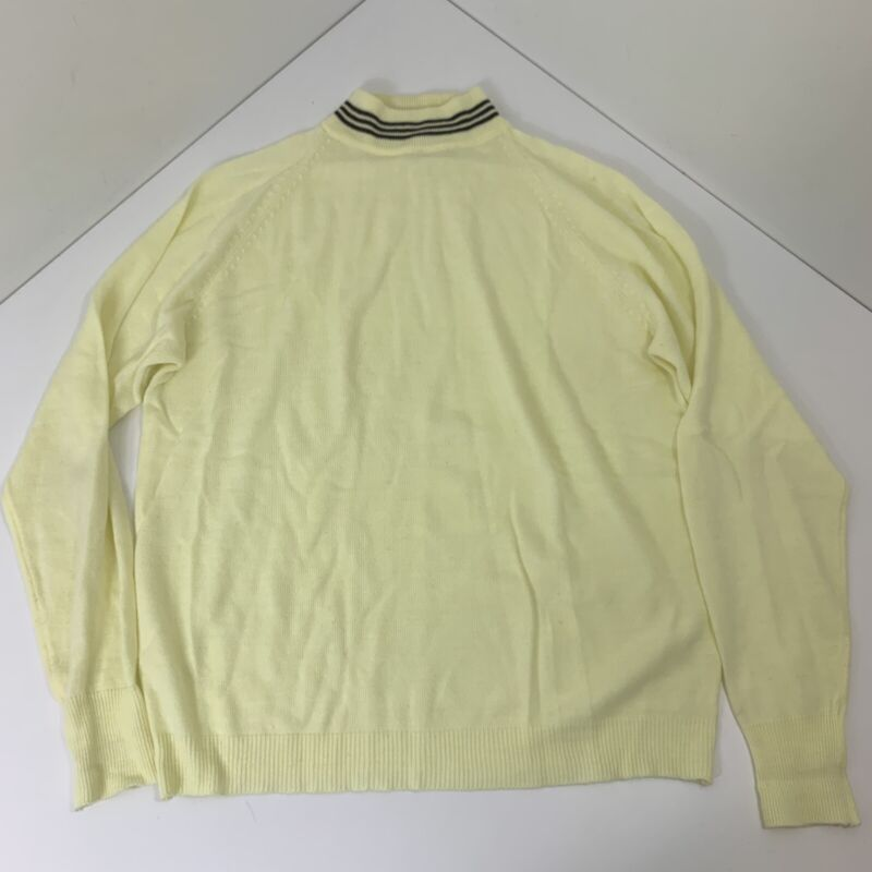 Vintage Full Fashion Acrylic Yellow and Brown Sweater Size Large 60