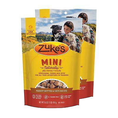 Zuke's Mini Naturals Dog Treats Peanut Butter and Oats 16 oz