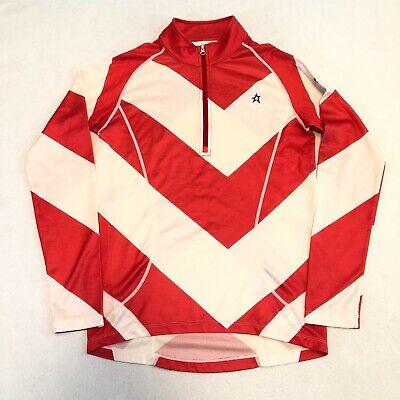 Polartec Perfect Moment Star Striped Ski 1/4 Zip Pullover Jacket Wool Blend Sz M
