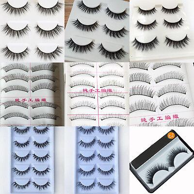 Handmade Different Style Makeup Long Soft Thick False Eyelashes Eye Lashes (Different Eye Black Styles)