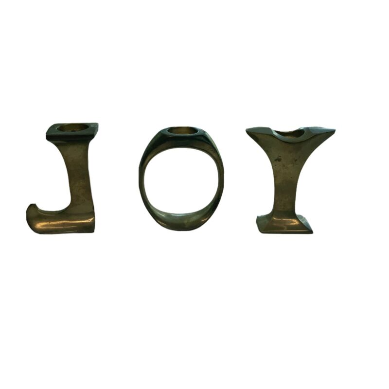 JOY Candle Holder Brass 3 Inch Tall Holiday Decoration