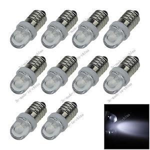 10X White 1 In line LED E10 1447 style Bulb Light for DIY LIONEL 6V - 12V N601
